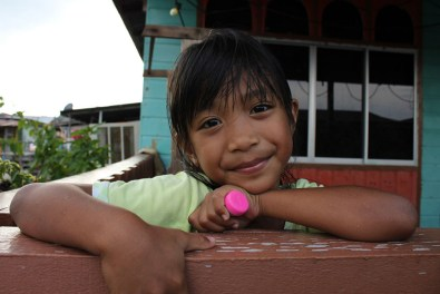 Portrait of a cute little girl met in Kampong Ayer, Brunei.