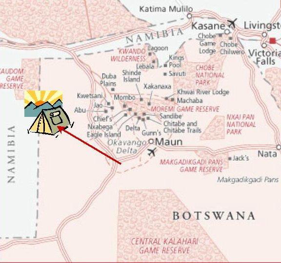 to Tsodilo map Botswana - ExplorationVacation