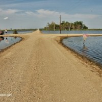 flooded roads in North Dakota