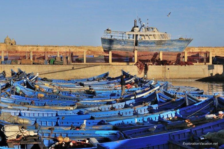 Morocco 8 DSC_8187 blue boats in Essaouira's harbor