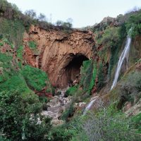 Imi n Ifri natural bridge and waterfall in Morocco