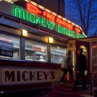 neon nights at Mikey's diner in St Paul Minnesota