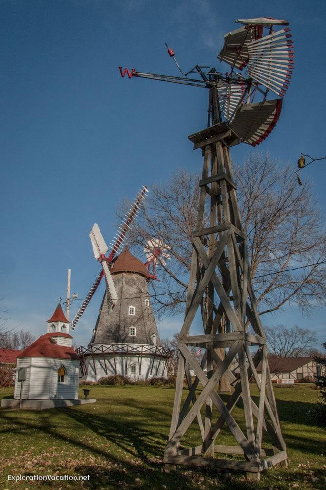 old fashioned windmills in Elk Horn Iowa