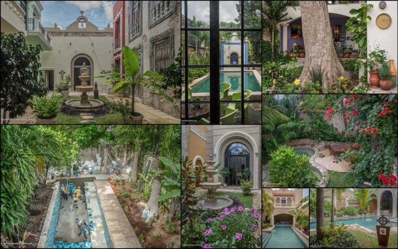 Pools and fountains seen on the Merida English Library House Tour - ExplorationVacation #Mexico #architecture