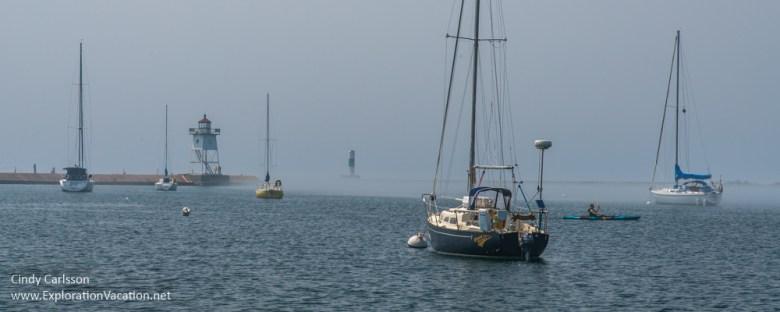 foggy day in Grand Marais harbor Minnesota - ExplorationVacation