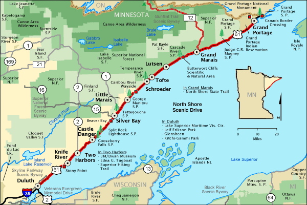 Lake Superior North Shore Tourist map