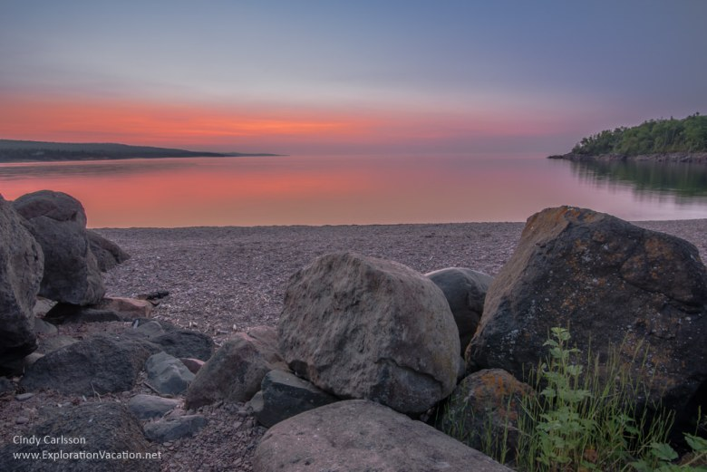 sunrise along the beach in Grand Marias