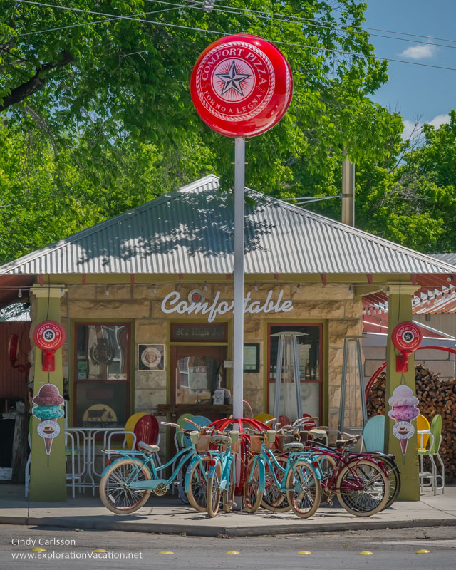 cafe with bikes Comfort Texas Hill Country - ExplorationVacation.net