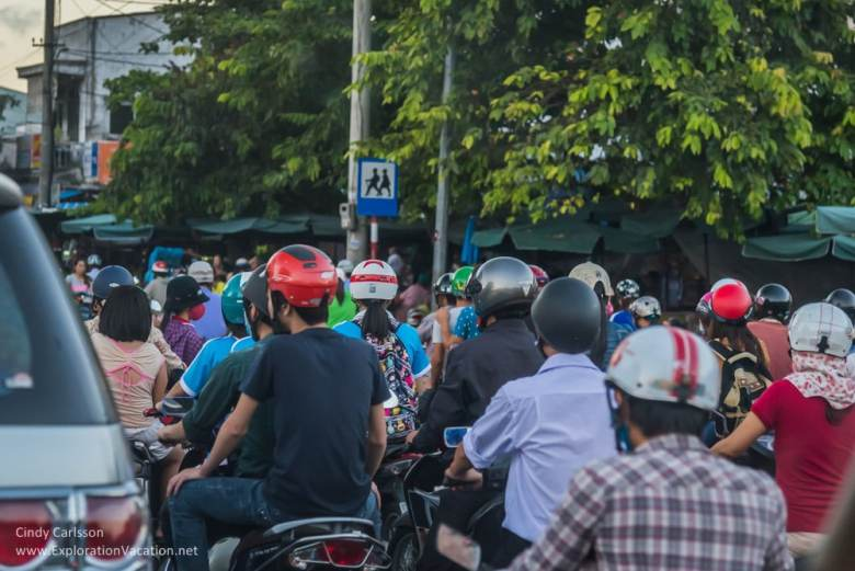 scooters during rush hour in Hue