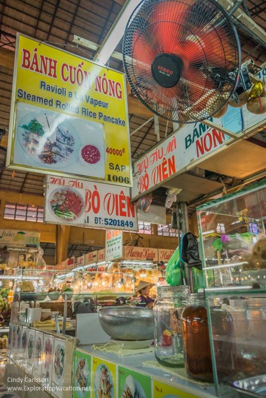 rolled pancake sign in Ben Thanh market