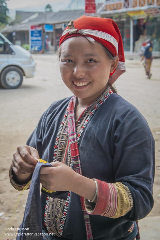 Red Dao (Yao) woman sewing
