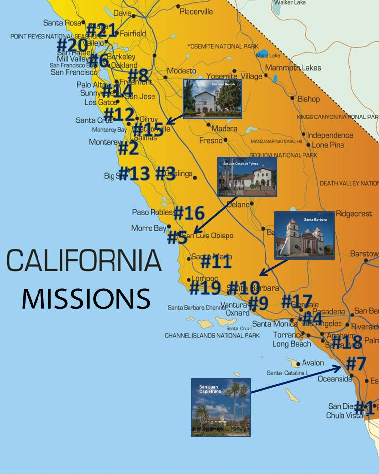 map showing location of missions