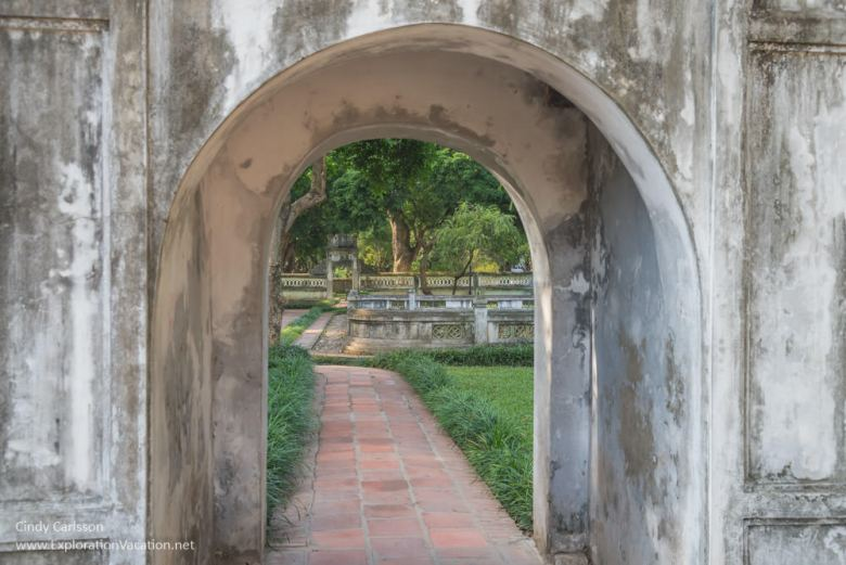looking back through a side gate to the garden