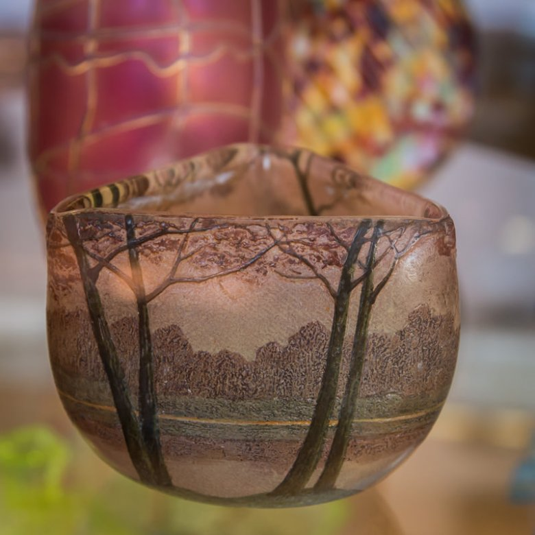 glass bowl at the Copper Art Museum Clarkdale AZ - ExplorationVacation.net