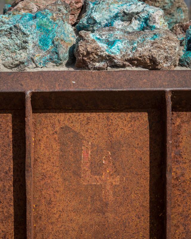 historic rail car with copper ore
