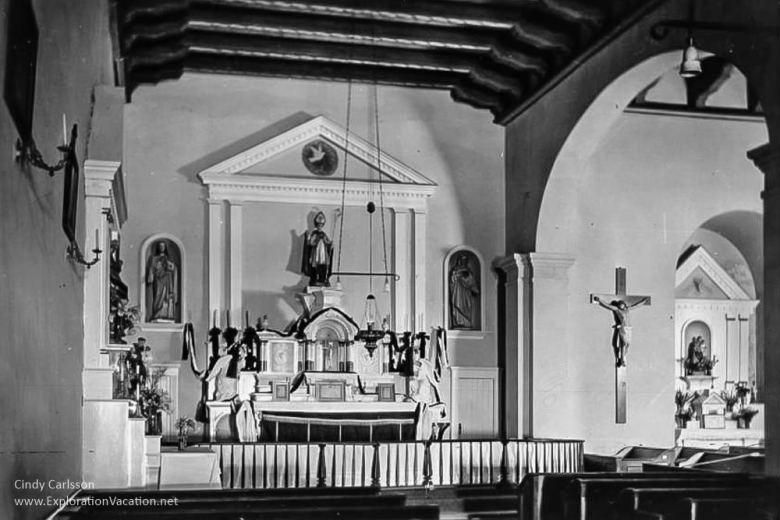 historic photo of altar at Mission San Luis Obispo California -ExplorationVacation.net