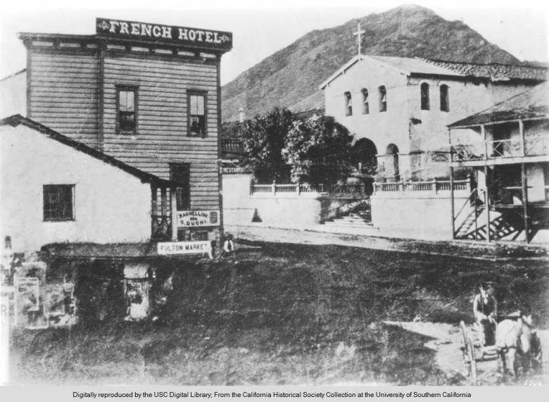 View_of_the_French_hotel_and_the_church_of_Mission_San_Luis_Obispo_ca1873