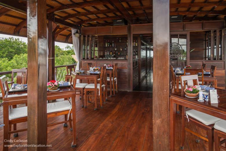 dining area and bar on Bassac cruise ship Mekong Delta Vietnam -ExplorationVacation.net