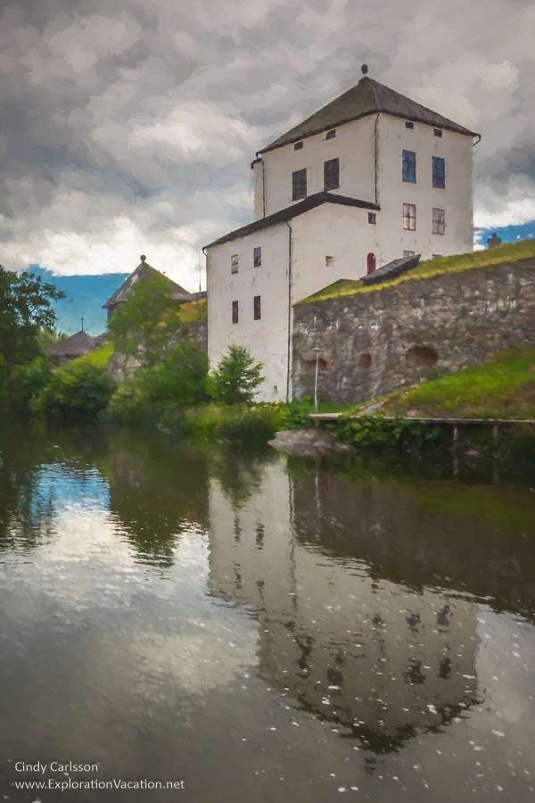 Painting of the scenery along the river in historic #Nyköping #Sweden - ExplorationVacation #VisitSweden #VisitSörmland #sponsored