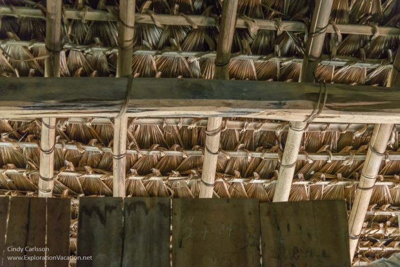 inside of roof in Me Village Northern Vietnam road trip - ExplorationVacation