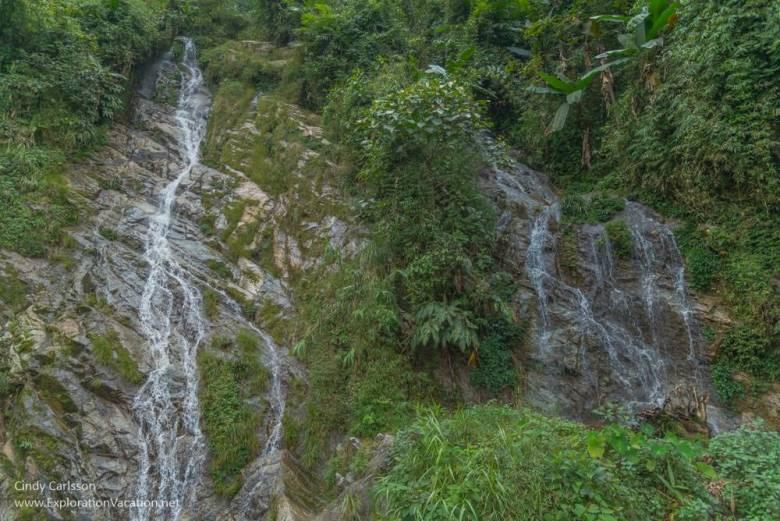 waterfall mountain scenery Northern Vietnam road trip - ExplorationVacation
