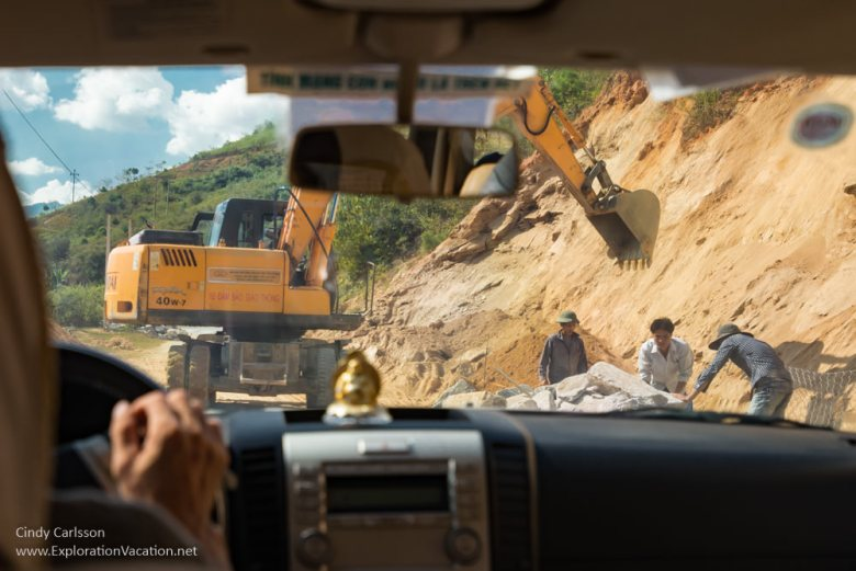raod construction Northern Vietnam road trip - ExplorationVacation