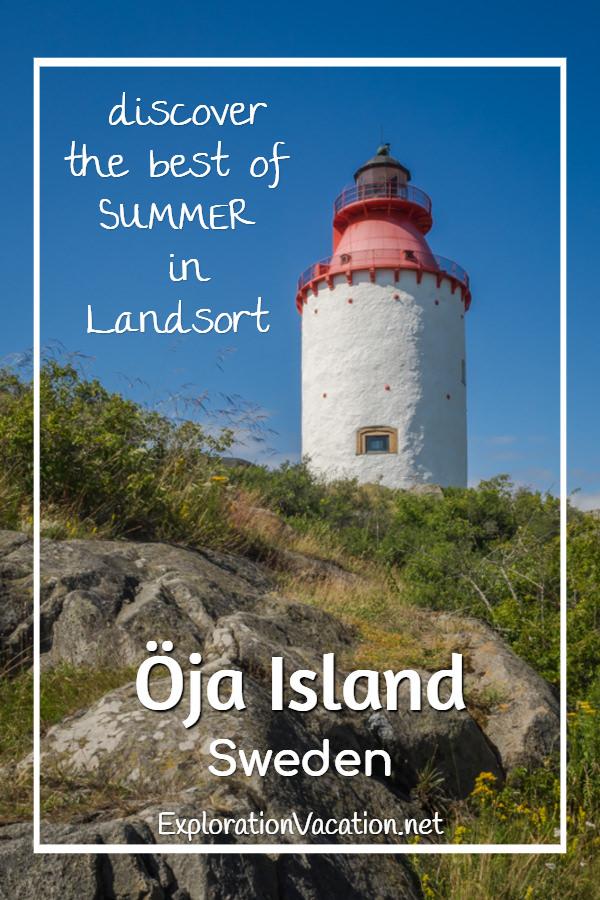 Lovely #Landsort #Lighthouse on Oja Island in Sweden's Stockholm Archipelago - ExplorationVacation #visitsweden #swedishsummer #ojaisland