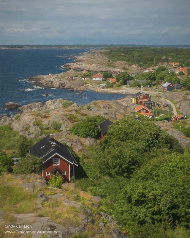 Painting of lovely Oja Island from #Landsort #Lighthouse in Sweden's Stockholm Archipelago - ExplorationVacation #VisitSweden #landsort #bythesea