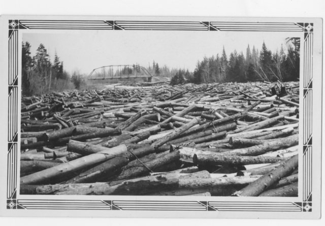 Logging on the Big Fork River (log jam?), 1925. Photo from the Minnesota Historical Society collection, locator number HD5.44 r31.