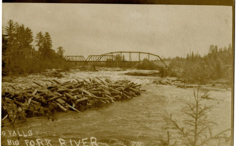 Logs at Big Falls on the Big Fork - MNHS photo