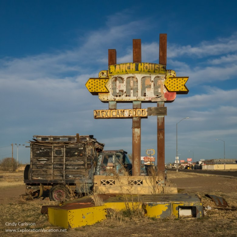 Ranch House Cafe sign on historic Route 66 in Tucumcari New Mexico - ExplorationVacation.net