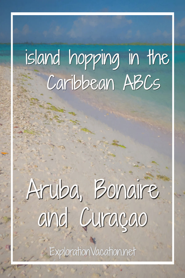 white sand beach with aqua water and title text