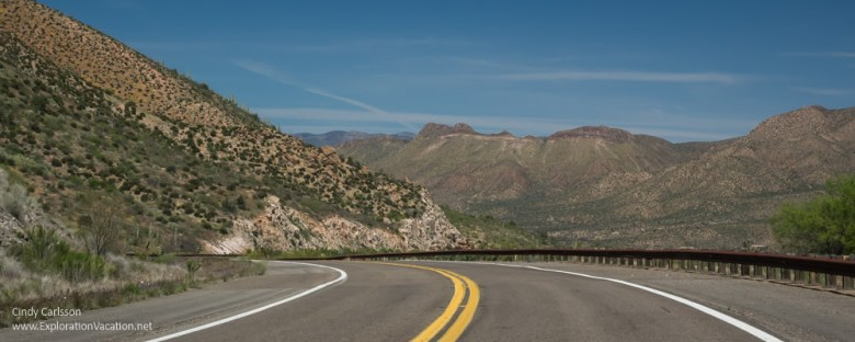 road heading into the mountains in Arizona