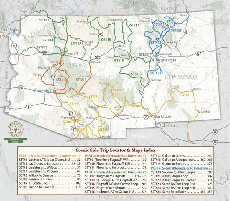Arizona and New Mexico map showing scenic side trip routes