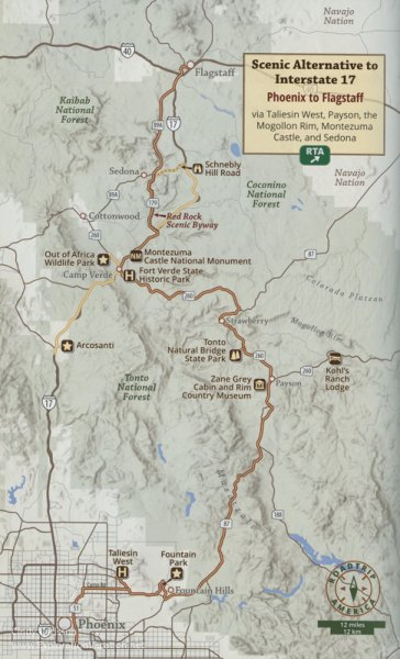 Map of the eastern route between Phoenix and Flagstaff