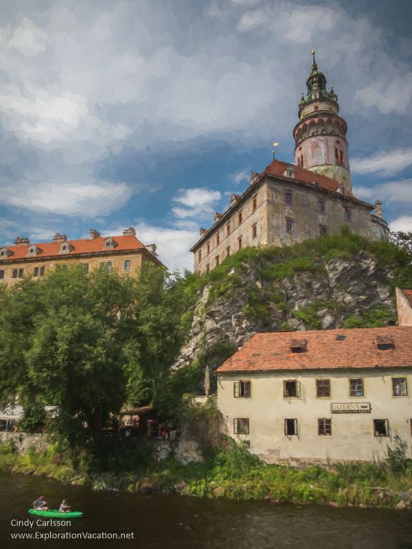 Photo painting of Český Krumlov, looking up toward the castle (no text)