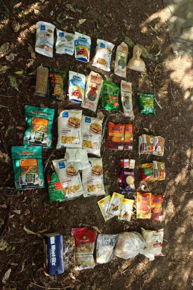 Nahrungsmittel Vorräte auf Te Araroa Trail