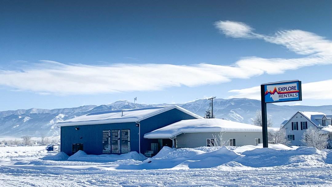 Exterior of Explore Rentals in winter
