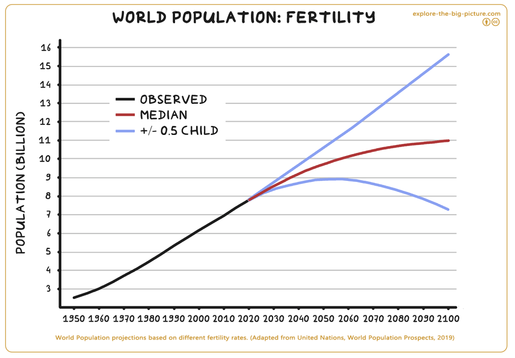 World Population projections based on fertility rates