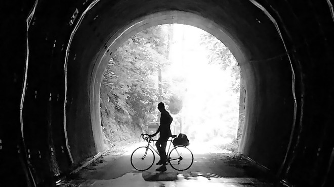 Silhouette of me on my bike