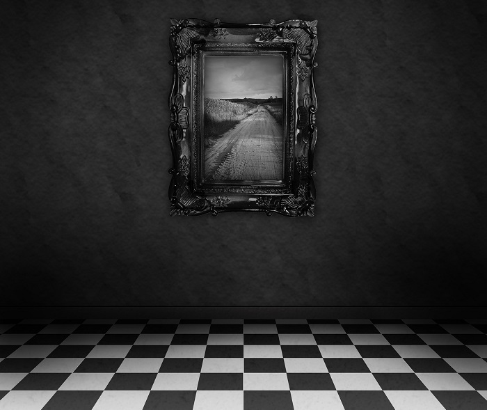 Empty, dark, psychedelic room with black and white checker on th