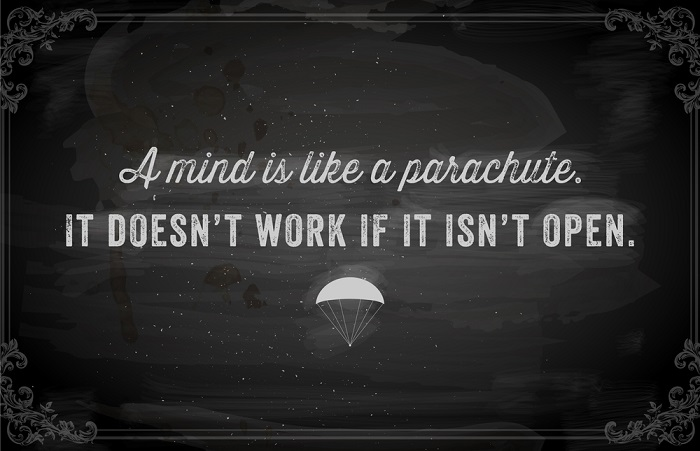 """Quote Typographical Background, vector design. """"A mind is like a"""