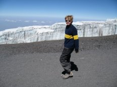 Touching the top of Africa, Myles Anderson headed down the hill alongside the rapidly melting glacier