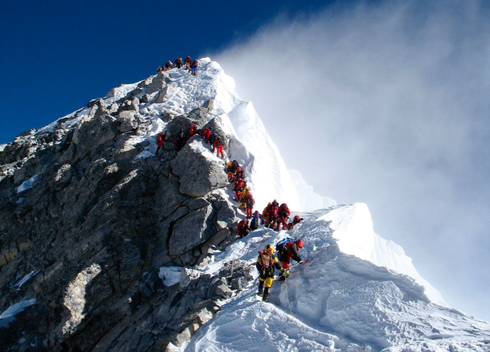Everest, hillary step, waiting in line on Everest