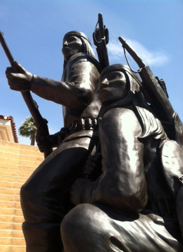 """""""Unconquered II"""" (1994), by Allan Houser, part of the American Indian War Veterans Memorial on the grounds of the Heard Museum."""