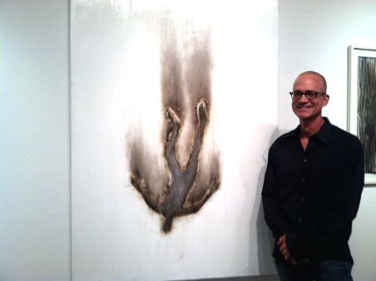 "John Tuomisto-Bell with ""Falling Man #11"" at R. Pela Contemporary."