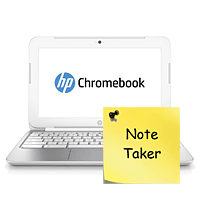 Chromebook running Note Taker app