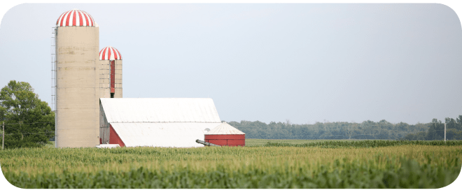 Photo of a barn and silo