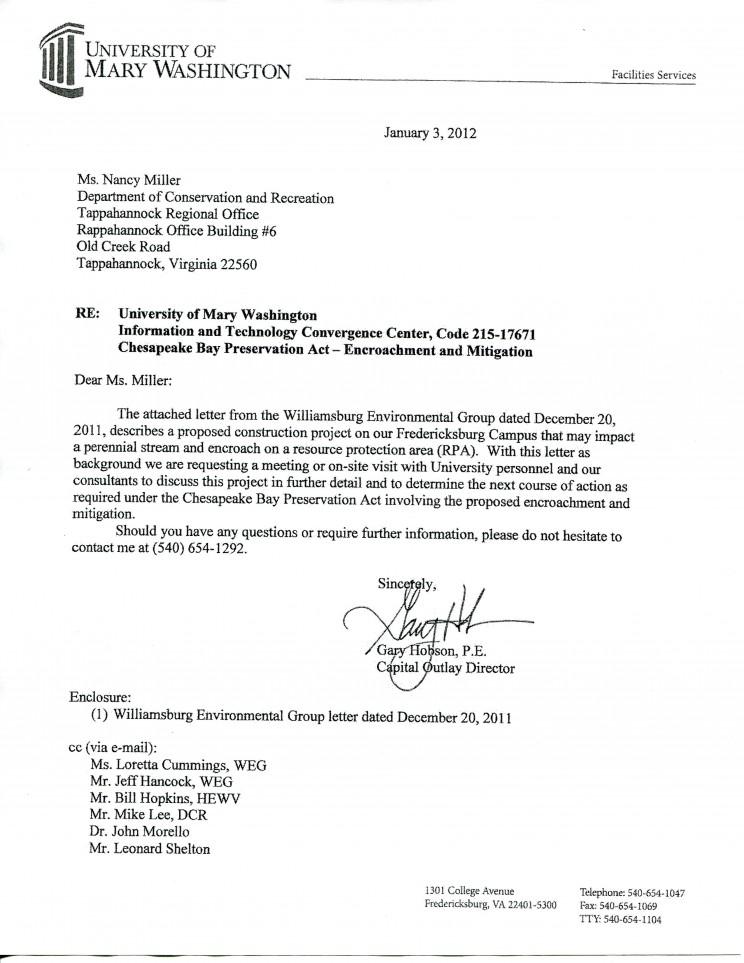 Cover Letter, UMW Mitigation Plan