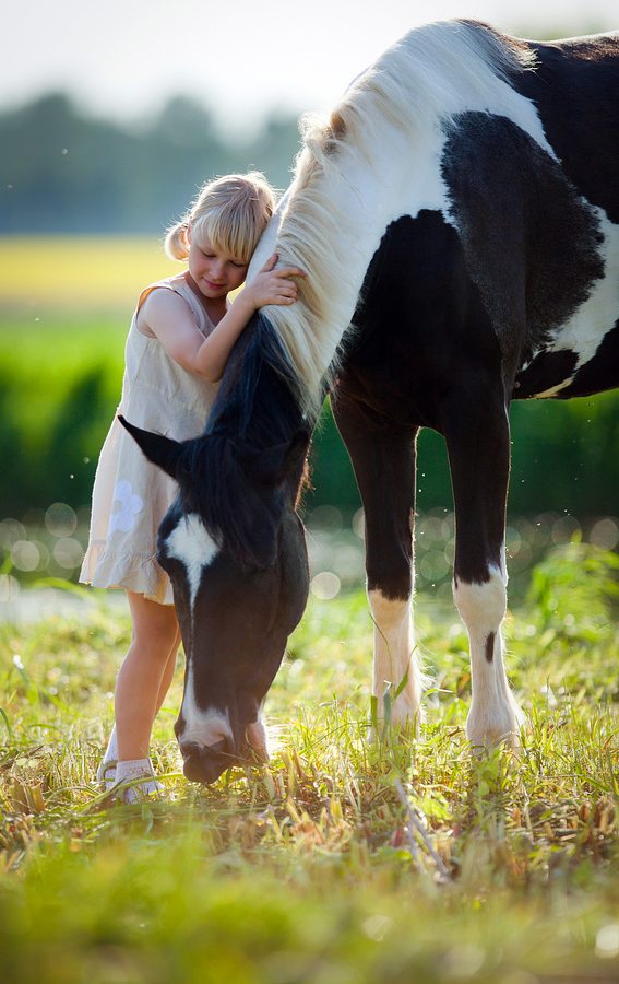girl with horse in lakewood ranch field